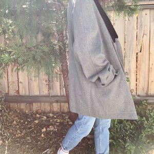 Vintage oversized gray wool faux fur collar coat